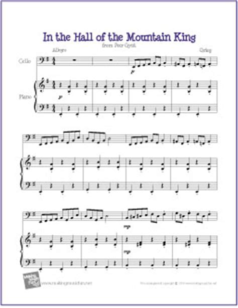 Download it free, and take advantage of this classical sheet music to introduce your beginner piano student to the music of edvard grieg. In the Hall of the Mountain King (Greig) | Free Easy Cello Sheet Music