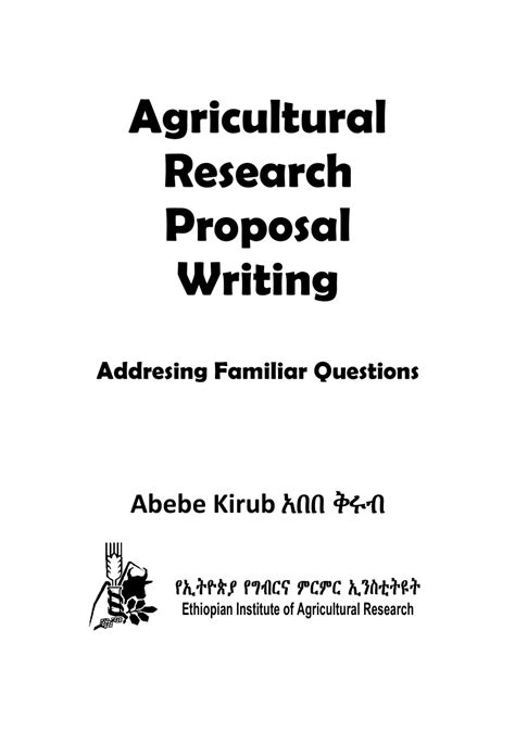 agricultural research proposal writing addressing