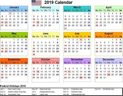 Free Download 2019 Calendar With Colorful Design And