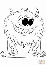Coloring Monster Cartoon Printable Drawing sketch template