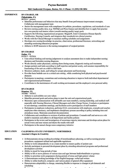 Resume Charges by Rn Charge Resume Sles Velvet