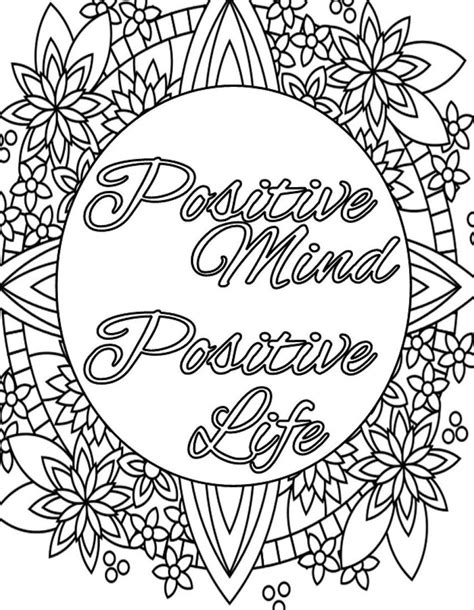 inspirational quote coloring page  print  color adult