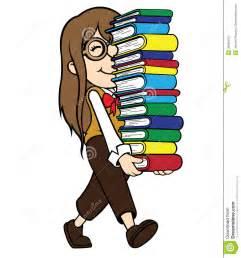 Cartoon Nerd Girl with Book