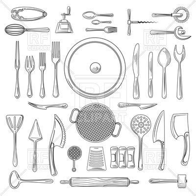 Kitchen utensils or kitchenware sketch. Hand drawn cooking