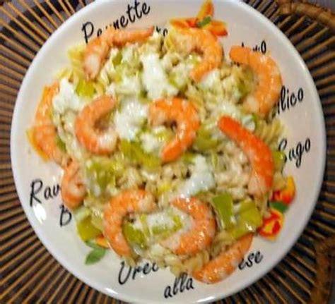 recette de p 226 tes aux crevettes et sa fondue de poireaux arros 233 es de sa cr 232 me de parmesan