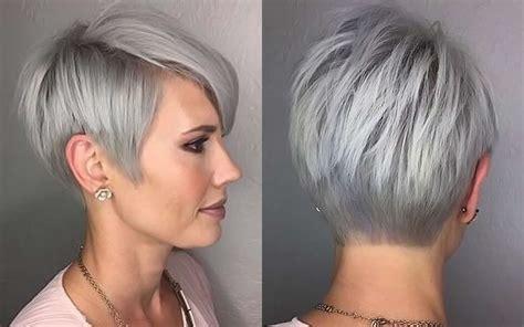 short hairstyle grey hair fashion  women