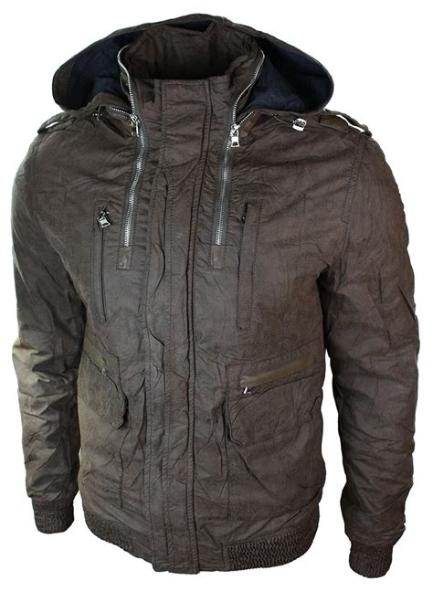 light bomber jacket mens mens slim fit hide away hood light bomber jacket brown