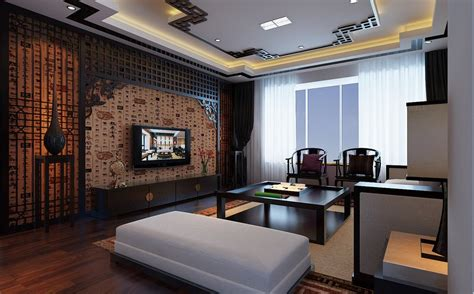 asian style floor ls flat screen chinese feature wall lounge interior design