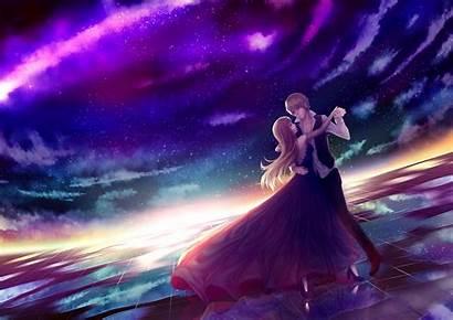 Anime Dancing Couple Romance Stars Sky Wallpapers