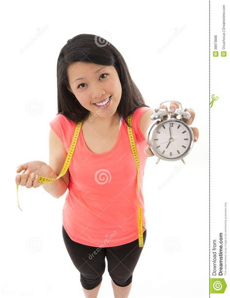 asian woman happy  starting  diet stock photo