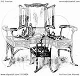 Vanity Table Illustration Clipart Vector Retro Royalty Prawny Regarding Notes Background sketch template