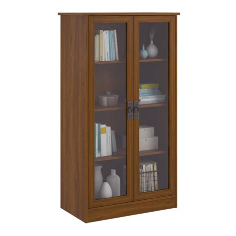 cherry bookcase with glass doors altra quinton point bookcase with glass doors inspire