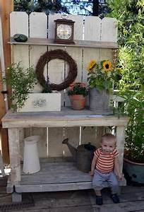 Potting Tables and Benches Idea Box by Susan @ Rustic