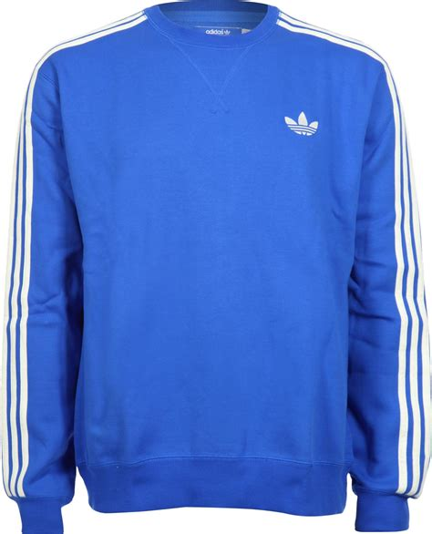 blue sweater adidas casual crew fleece sweater blue white