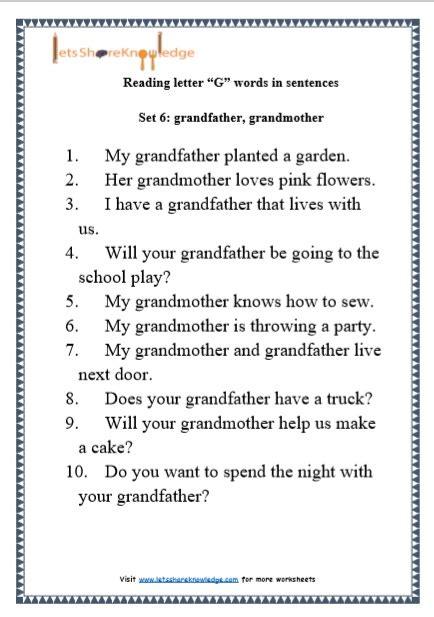 Letter Sentences by Kindergarten Reading Practice For Letter Quot G Quot Words In