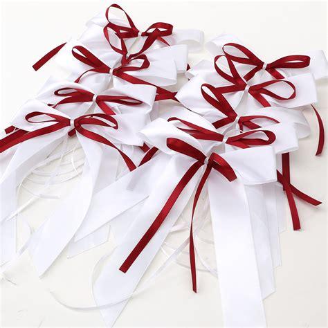 ruban pour deco voiture mariage 10pcs noeud papillon satin ruban d 233 co voiture salle de mariage vin blanc ebay