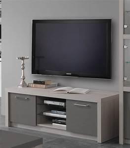 Meuble Gris Laqué : meuble tv plasma fano chene blanchi laque gris chene blanchi gris brillant l 150 x h 50 x p 50 ~ Nature-et-papiers.com Idées de Décoration