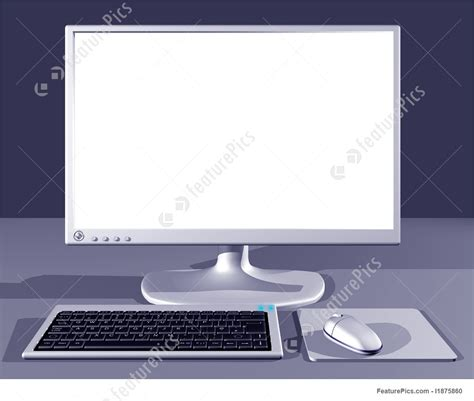 ordinateur de bureau blanc desktop computer with blank screen illustration