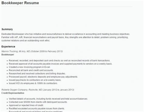 Bookkeeper Resume by Bookkeeper Resume Tips And Sles