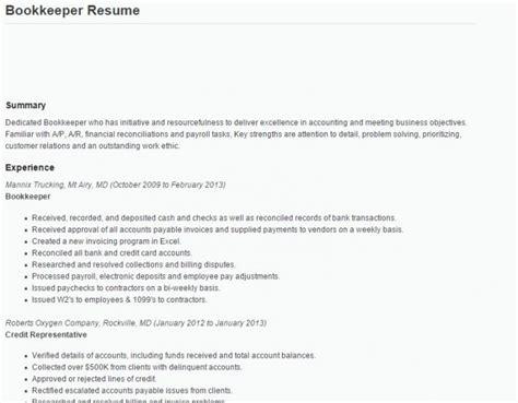 Bookkeeper Duties And Responsibilities Resume by Resume Exle Bookkeeper Resume Sle Bookkeeper Resume