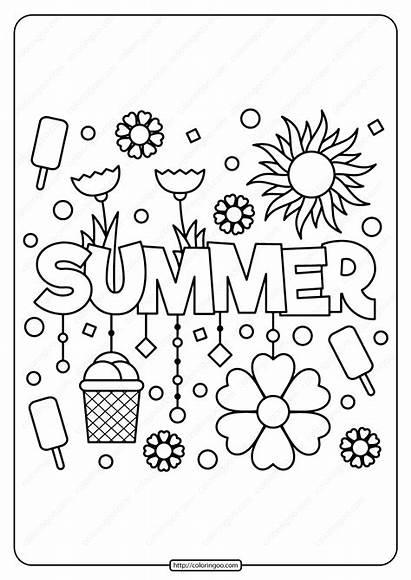 Coloring Pages Printable Summer Pdf Freeer Word