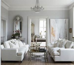 White and Gray Living Room - French - living room - Slettvoll