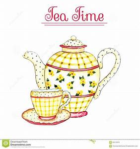 Watercolor Teapot And Cup. Vector Illustration ...