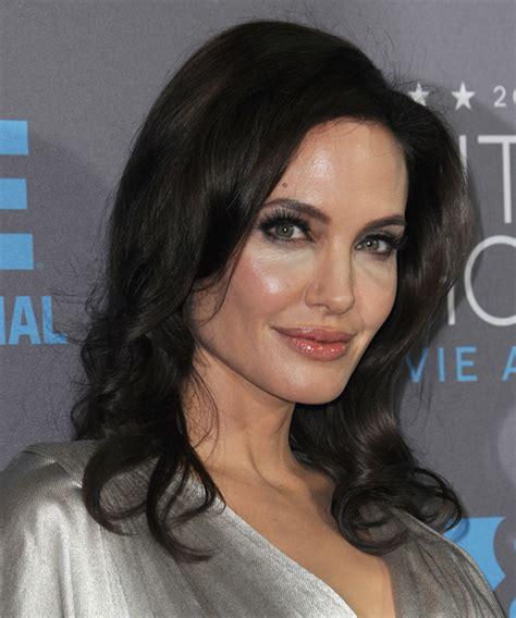 Angelina Jolie Long Wavy Formal Hairstyle   Dark Brunette