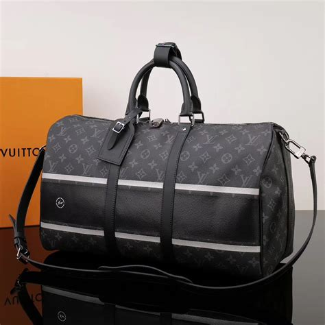 replica men lv louis vuitton keepall  handbag  monogram travelling bag black lv