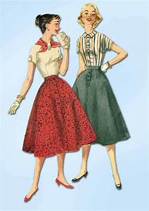 1950s Vintage Simplicity Sewing Pattern 1736 Simple Skirt ...