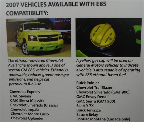 Gm Flex Fuel Vehicle List
