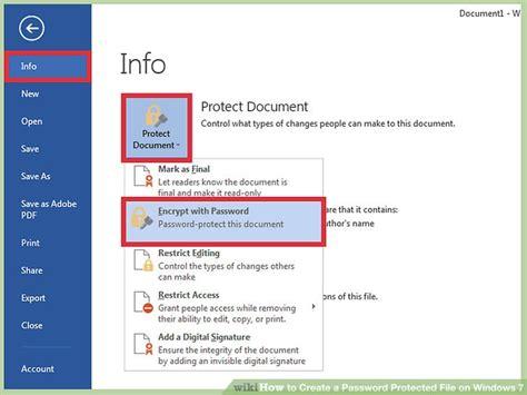 ways  create  password protected file  windows