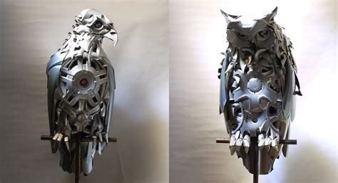 artist turns  hubcaps  awesome animal sculptures