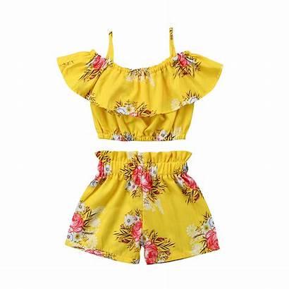 Outfits Yellow Tops Shorts Toddler Royal Floral