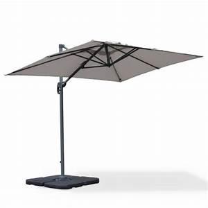 Parasol Inclinable Rectangulaire : parasol d port rectangulaire biscarosse 2x3m gris clair excentr inclinable rotatif 360 ~ Teatrodelosmanantiales.com Idées de Décoration