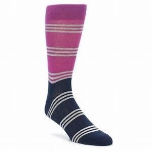 Fuchsia Navy Stripe Men's Dress Socks Richer Poorer