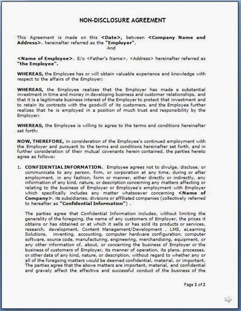 disclosure agreement  employees format