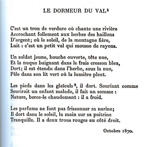 Poème Dormeur Du Val by Le Dormeur Du Val 171 Stephanedenagoya S