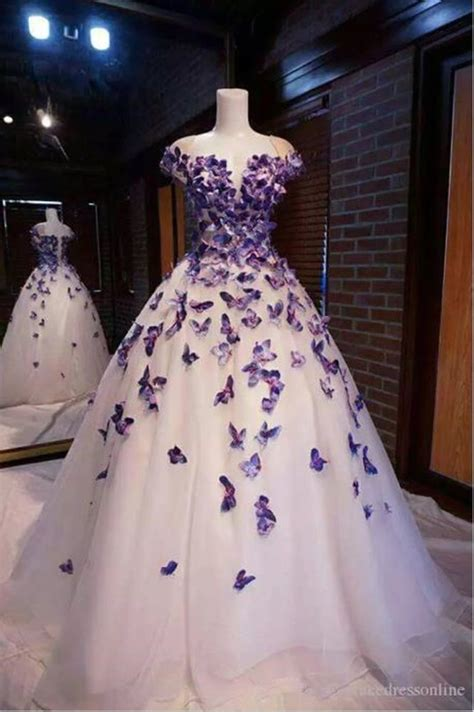 details  purple butterfly appliques ball quinceanera