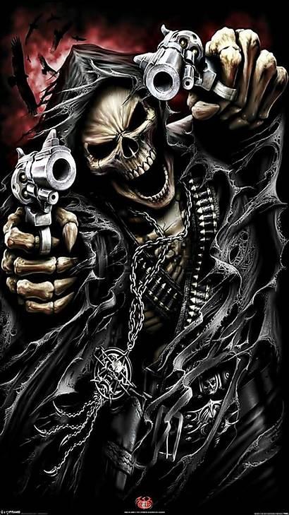 Skeleton Guns Wallpapers Skull Skulls Badass Skeletons