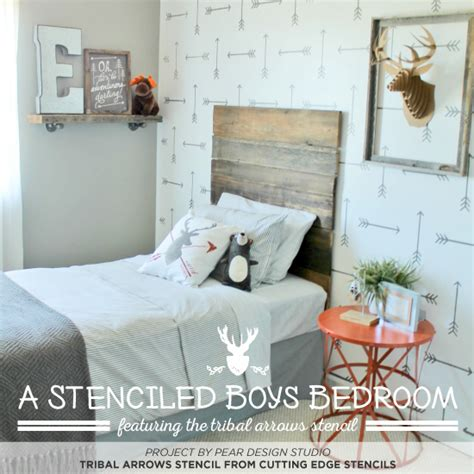 tribal arrows stenciled boys bedroom