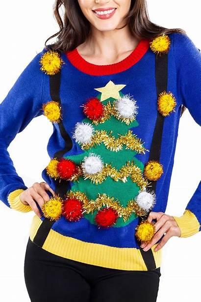Sweater Christmas Ugly Tree Sweaters Suspenders Hideous