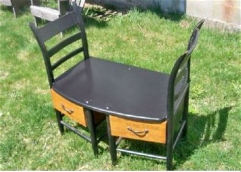 two chairs made into a cool bench benches chair