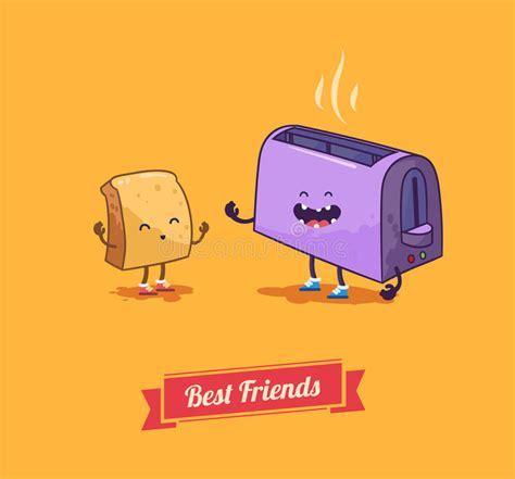Best Friends. Vector Cartoon. Breakfast Stock Vector