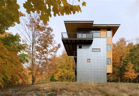 storey tall house reaches   forest    lake modern house designs