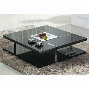 Table Basse Noire Design : la table basse laqu e noire design corbeille achat vente table basse table basse carr e ~ Carolinahurricanesstore.com Idées de Décoration