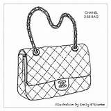 Purse Handbag Bag Chanel Drawing Designer Handbags Bags Sketches Coloring Purses Sketch Drawings Cad Iconic Illustration Outlines Borsa Illustrations Sac sketch template