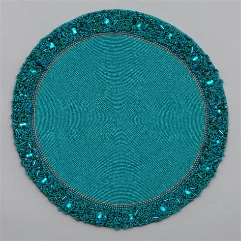 beaded placemats round bead placemat with cluster border nurit k designs