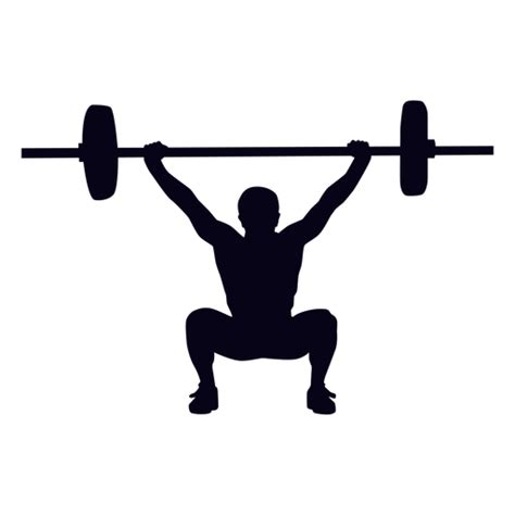 crossfit squat silhouette overhead svg transparent fitness press barbell vector strength training background weightlifting edit colors categories vexels
