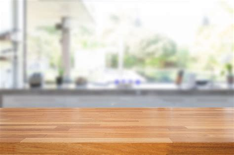 empty wooden table  blurred kitchen background brian
